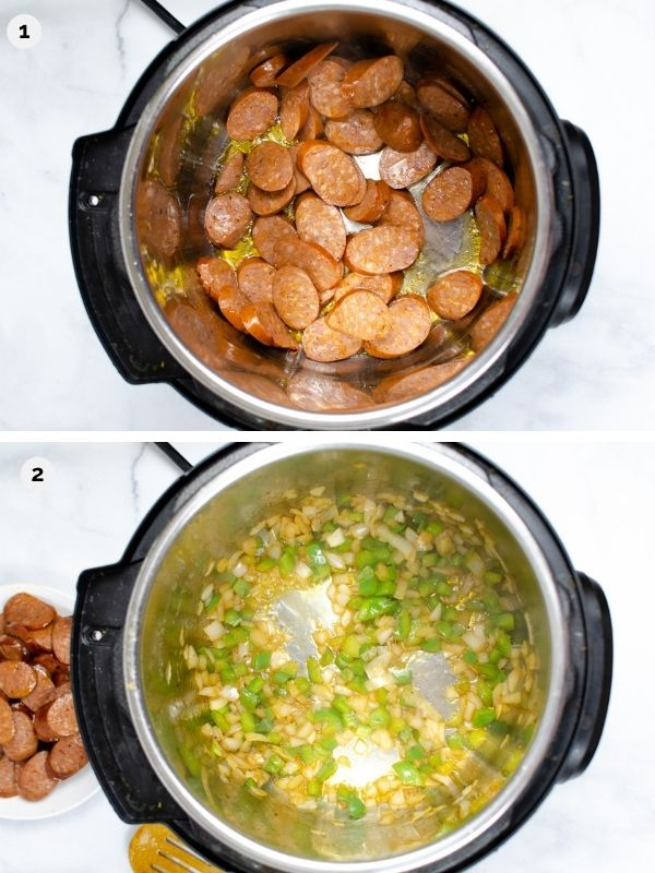 collage of photos for how to make instant pot jambalaya - browning andouille sausage and sauteing peppers and onion in the instant pot