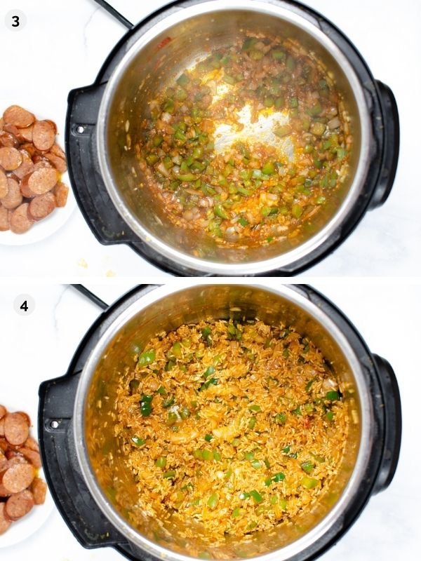 collage of photos for how to make instant pot jambalaya - adding seasonings and rice to the instant pot
