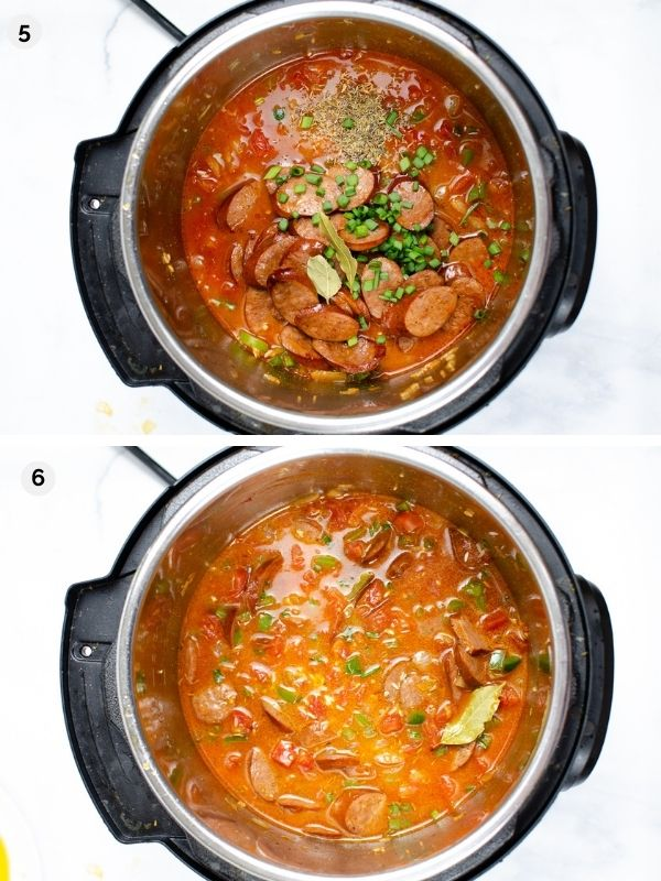 collage of photos for how to make instant pot jambalaya - adding broth and sausage and stirring before cooking
