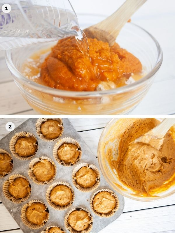 collage pf photos for how to make pumpkin muffins from cake mix