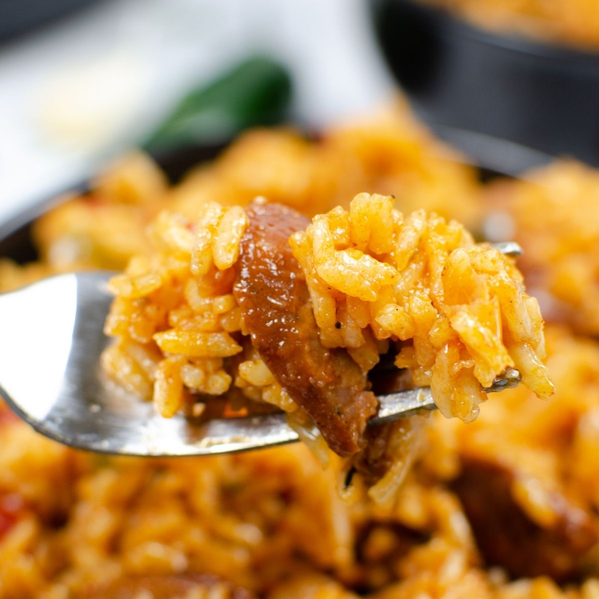 Sausage jambalaya on a fork - close up photo