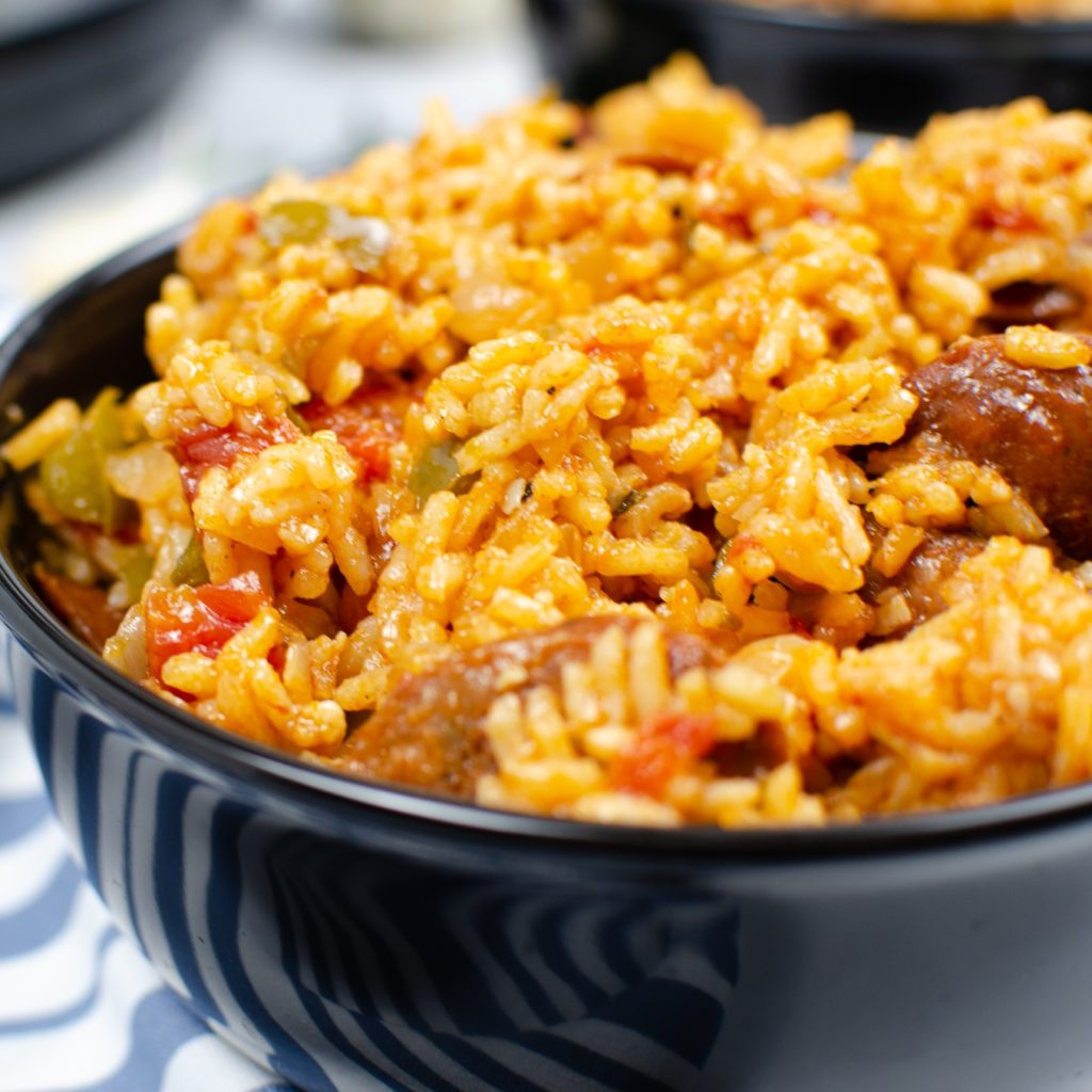 Creole Jambalaya with Andouille Sausage in a black bowl