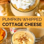 pinnable image of pumpkin whipped cottage cheese
