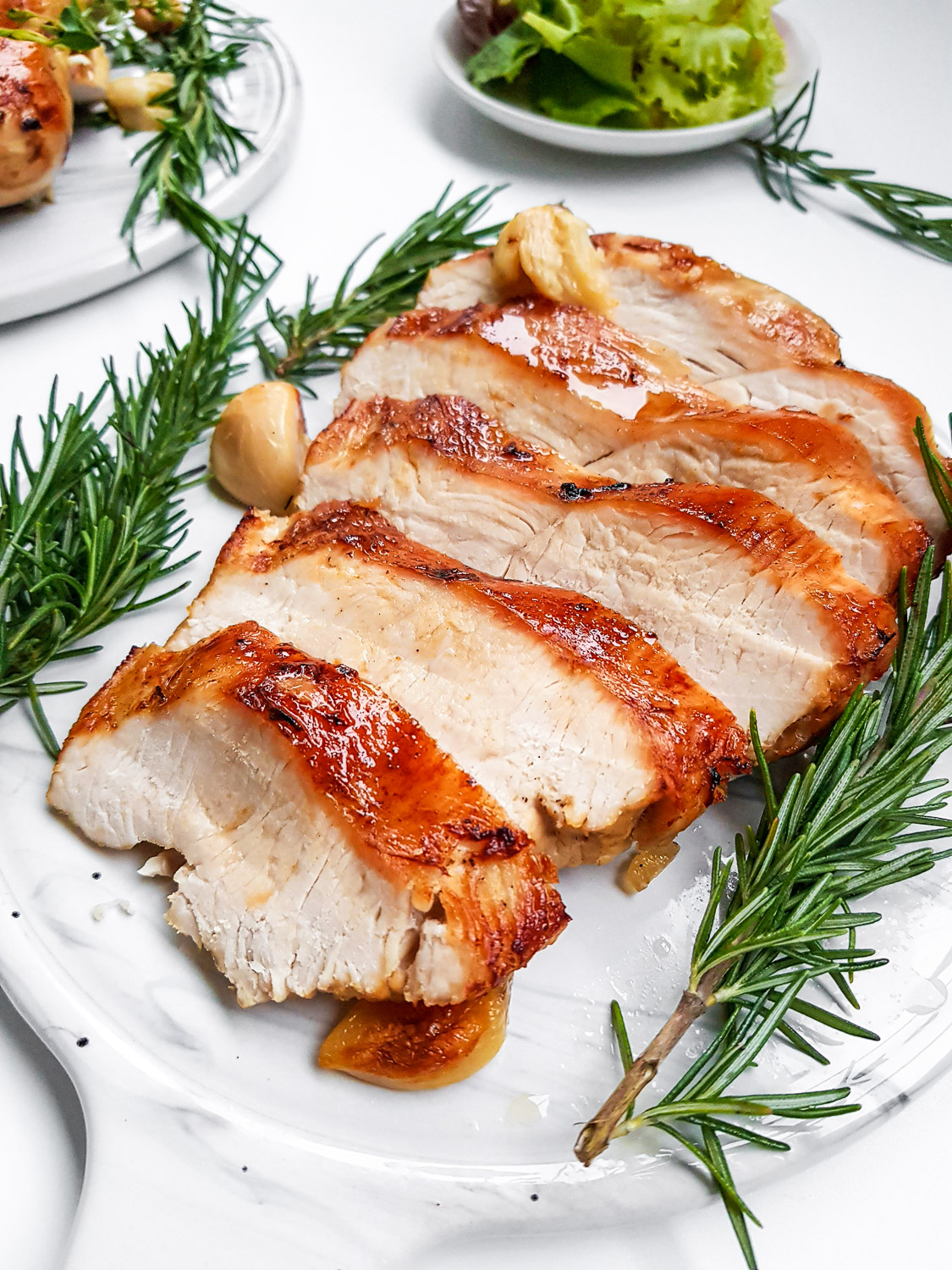 dry brined turkey breast roasted and carved