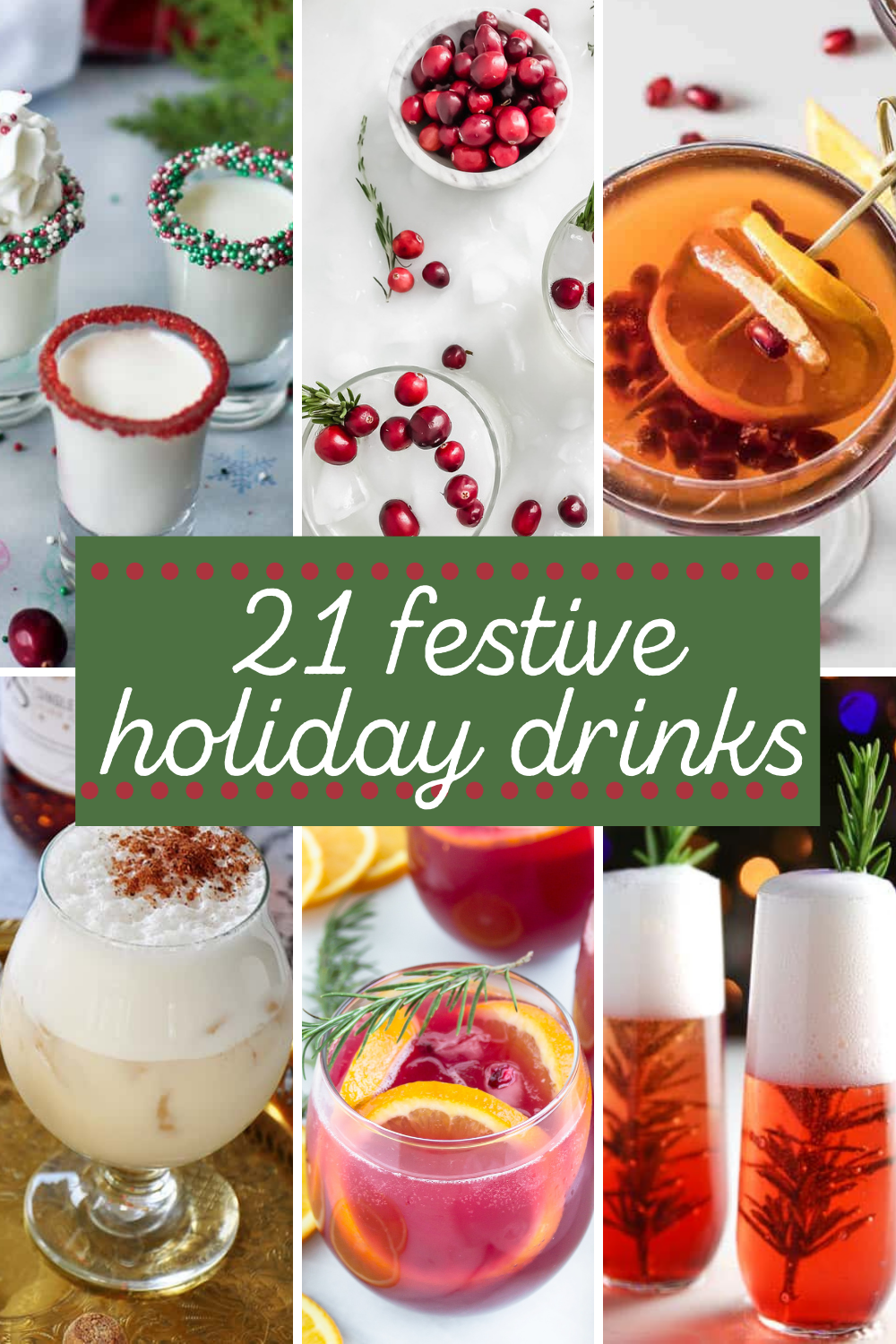 pinnable image of 22 festive holiday drinks