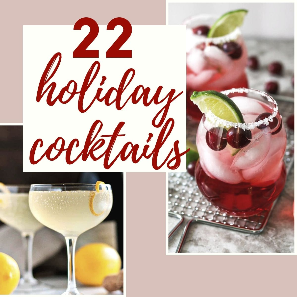 graphic of 22 holiday cocktails