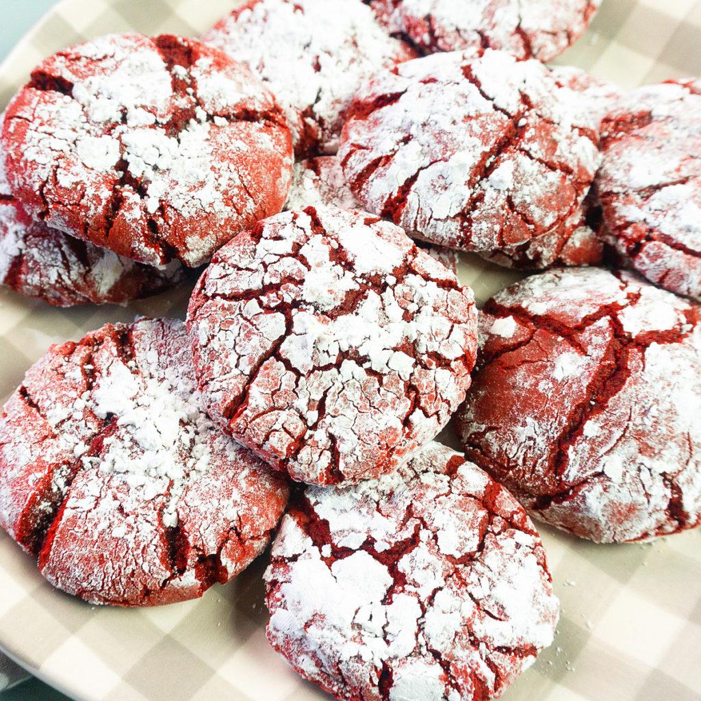plate of red velvet christmas cookies