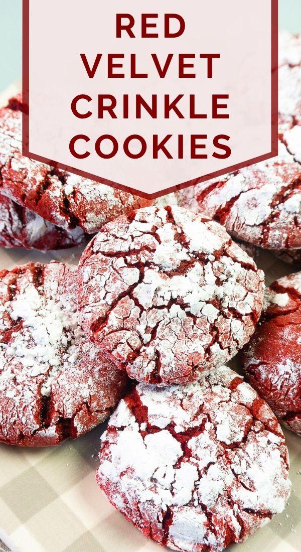 pinnable image of red velvet crinkle cookies