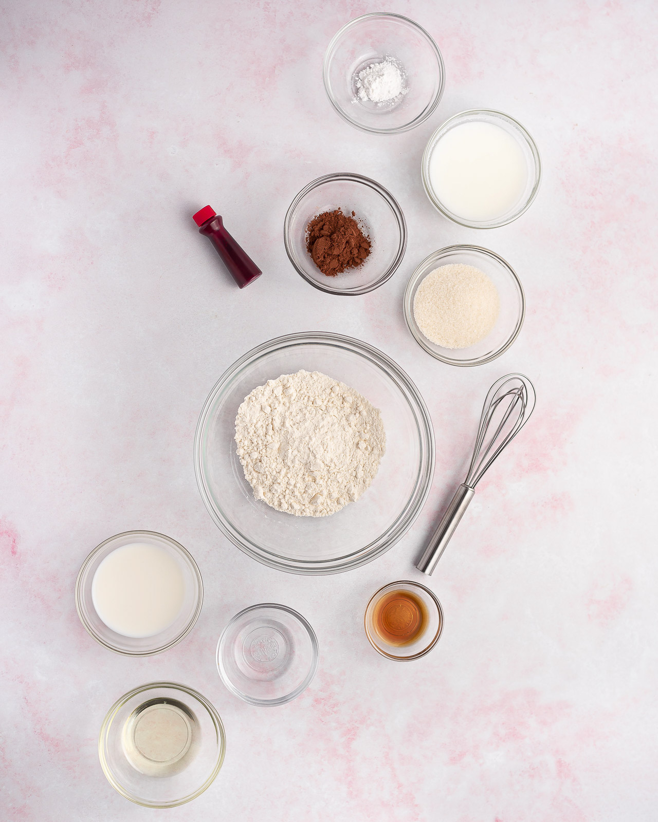 ingredients for red velvet mug cake