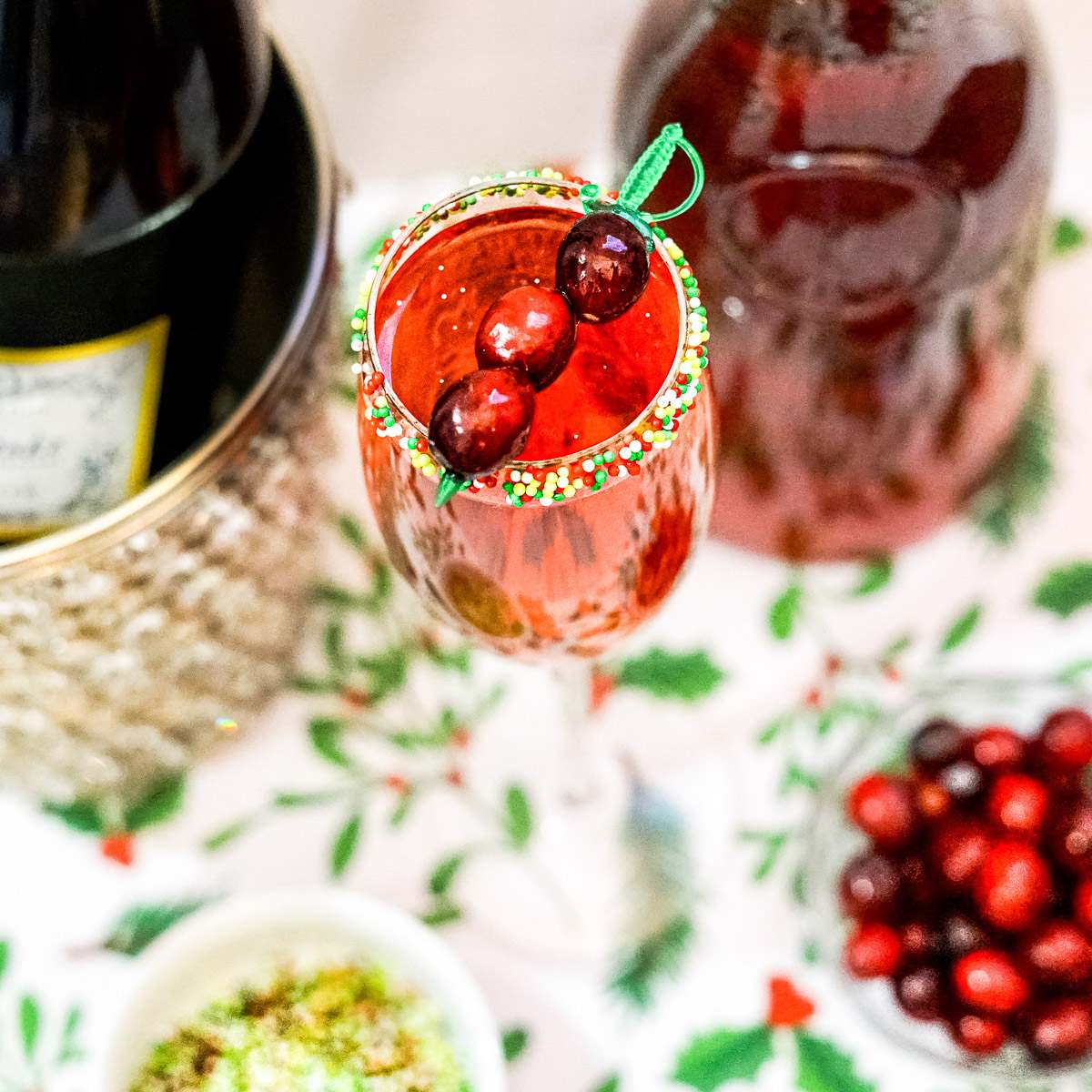 Cranberry Prosecco Mimosa garnished with fresh cranberries