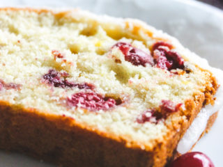 slice or orange cranberry pound cake