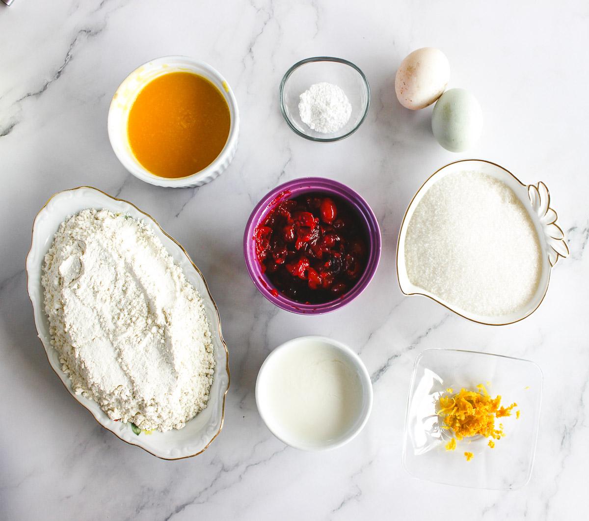 ingredients for cranberry orange pound cake