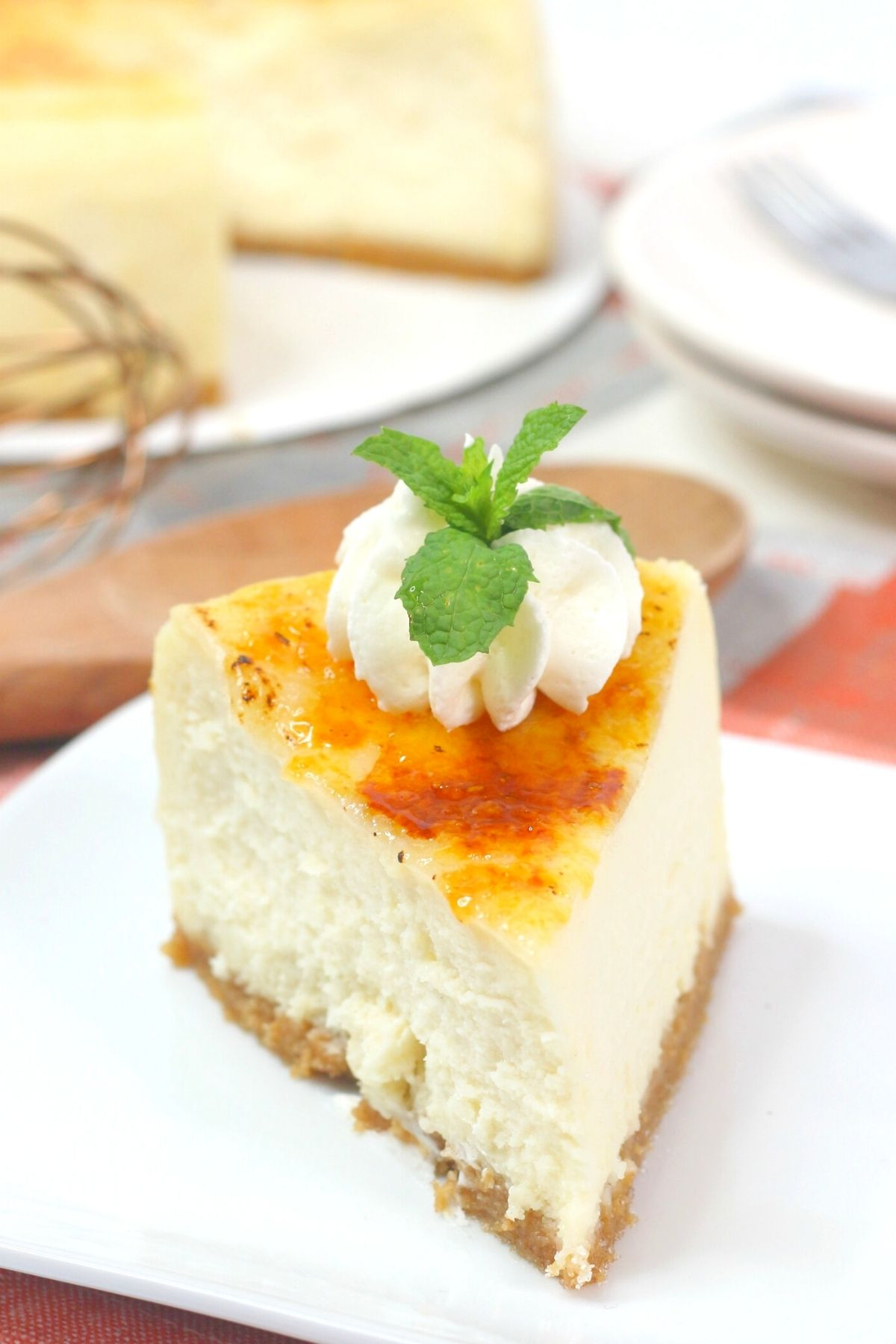 slice of instant pot creme brulee cheesecake