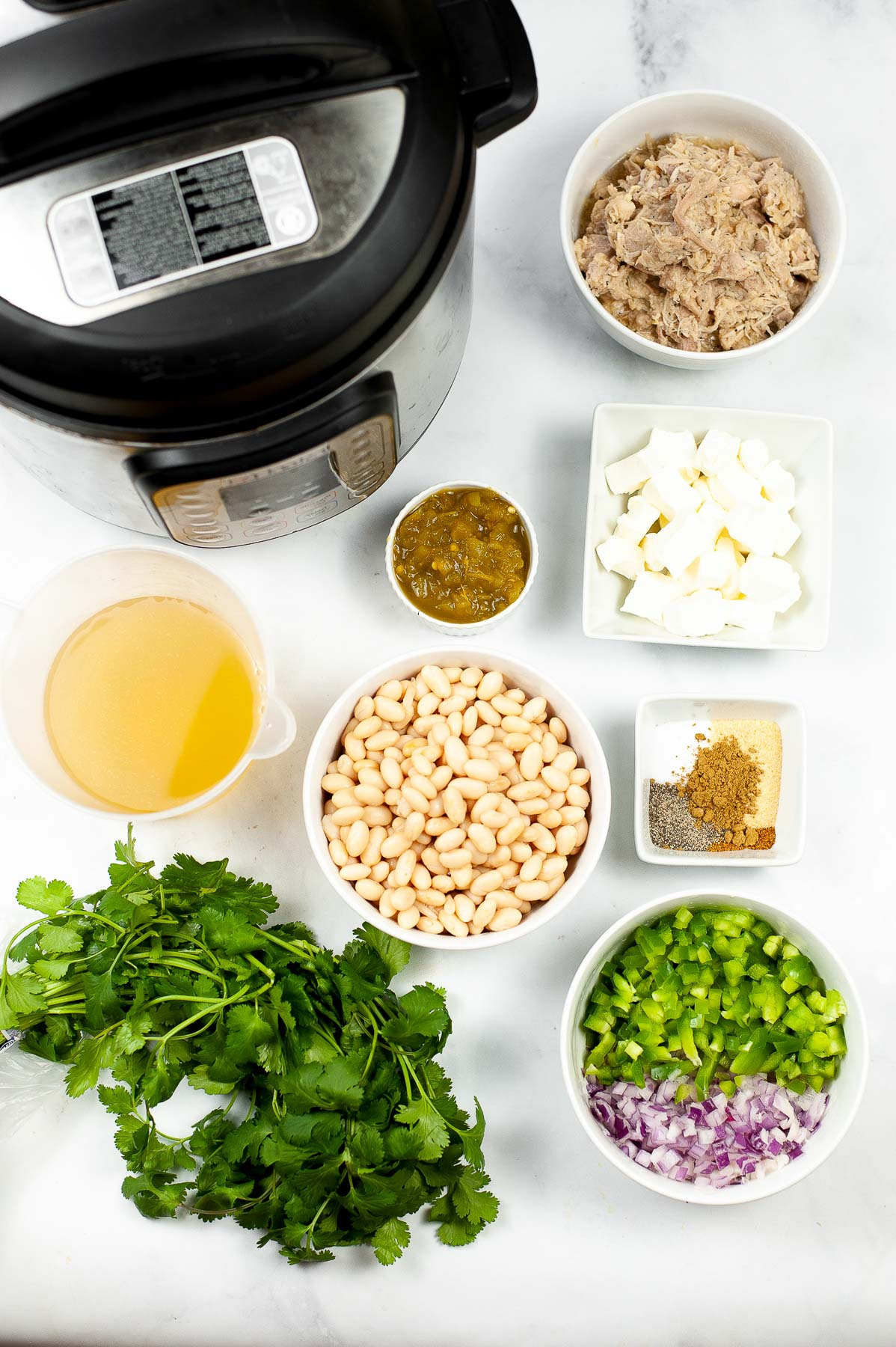 Ingredients to make white chicken chili in the Instant Pot