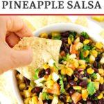 pinnable image of fresh pineapple black bean salsa