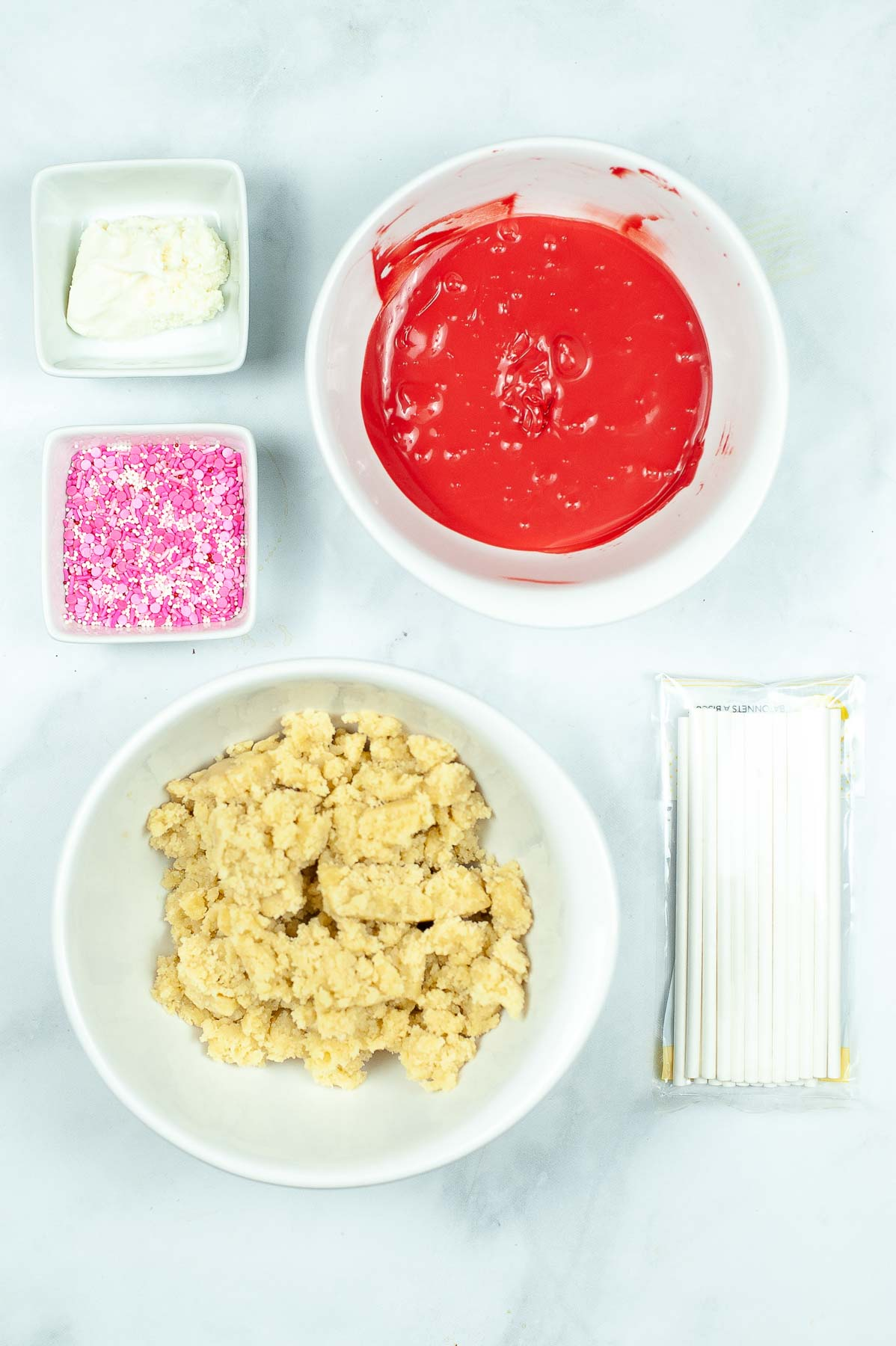 ingredients to make cake pops for valentine's day
