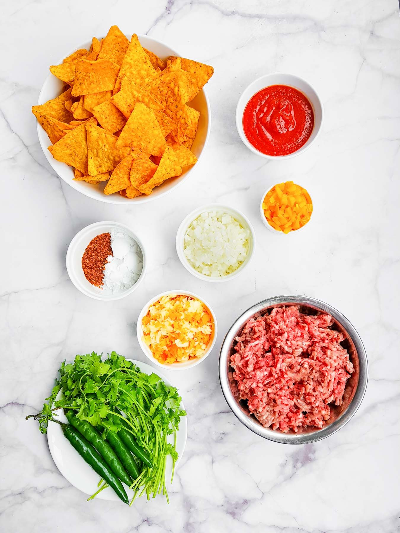ingredients for beef nachos with doritos