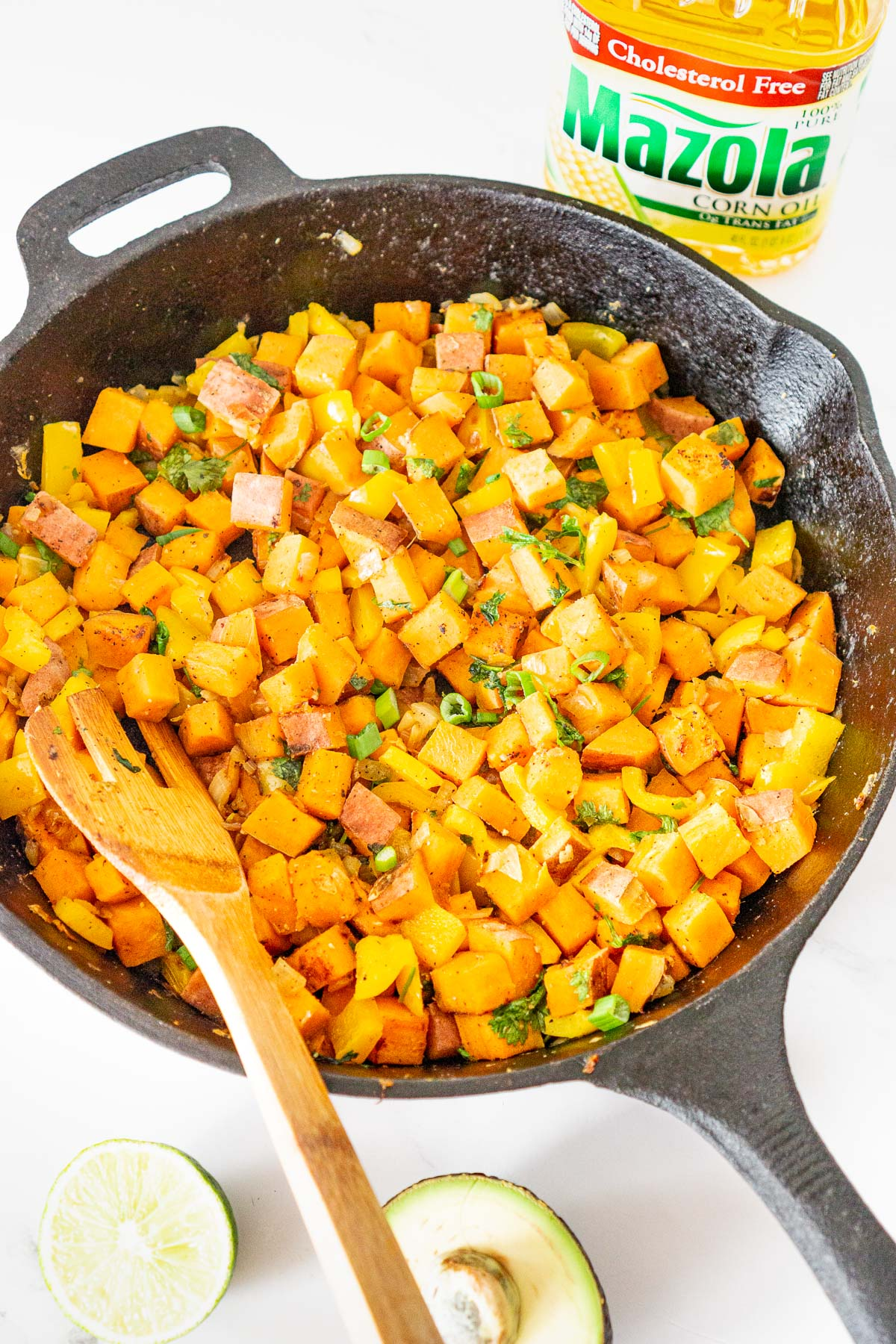 sweet potato hash in a cast iron skillet