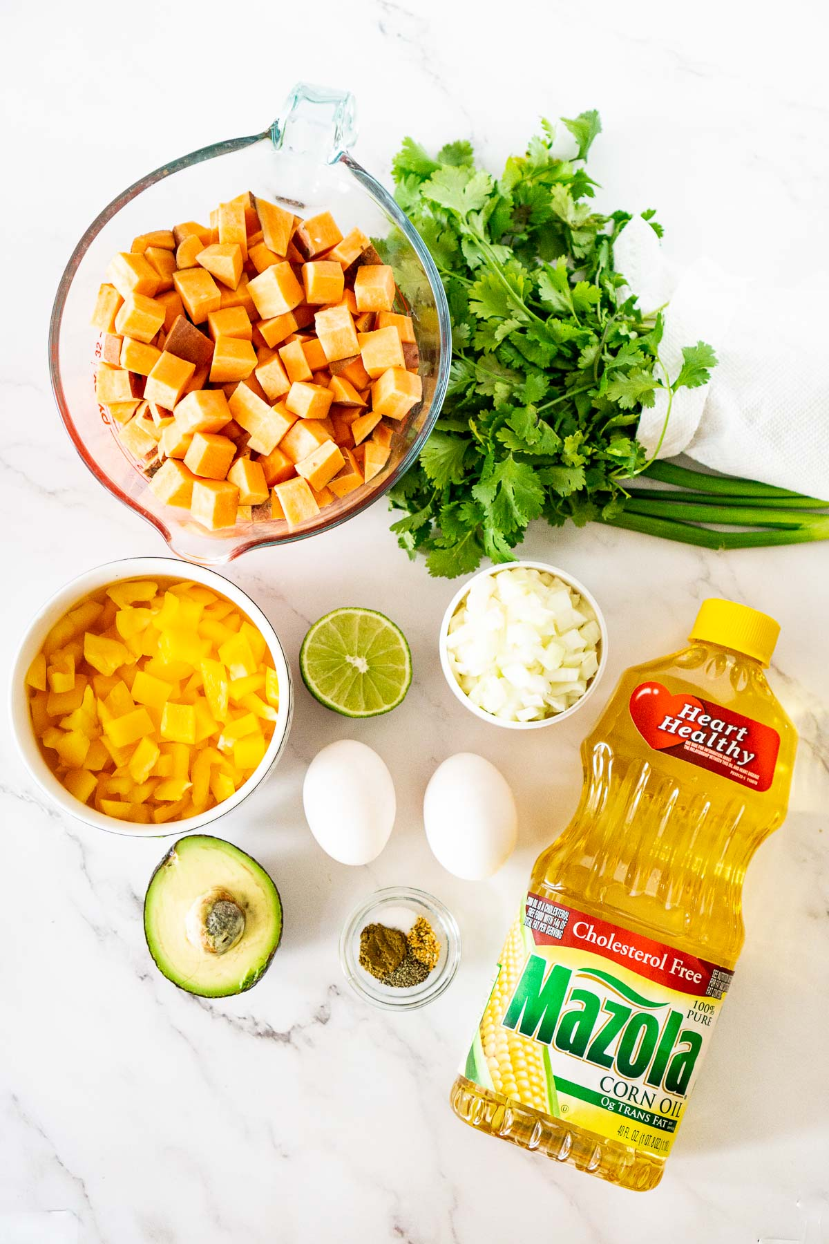ingredients to make sweet potato hash breakfast