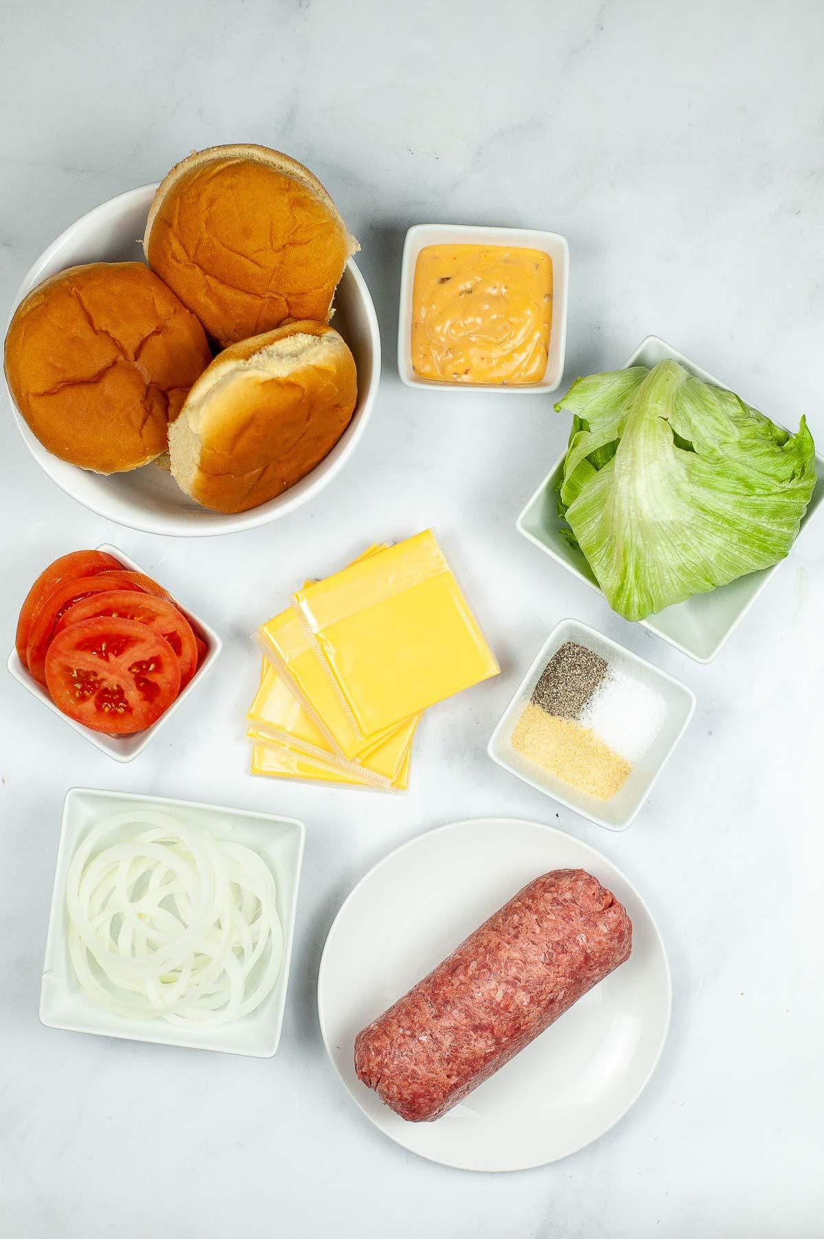 Ingredients to make Copycat In N Out Burgers.
