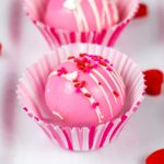 pink valentine's day hot chocolate bombs in muffin papers