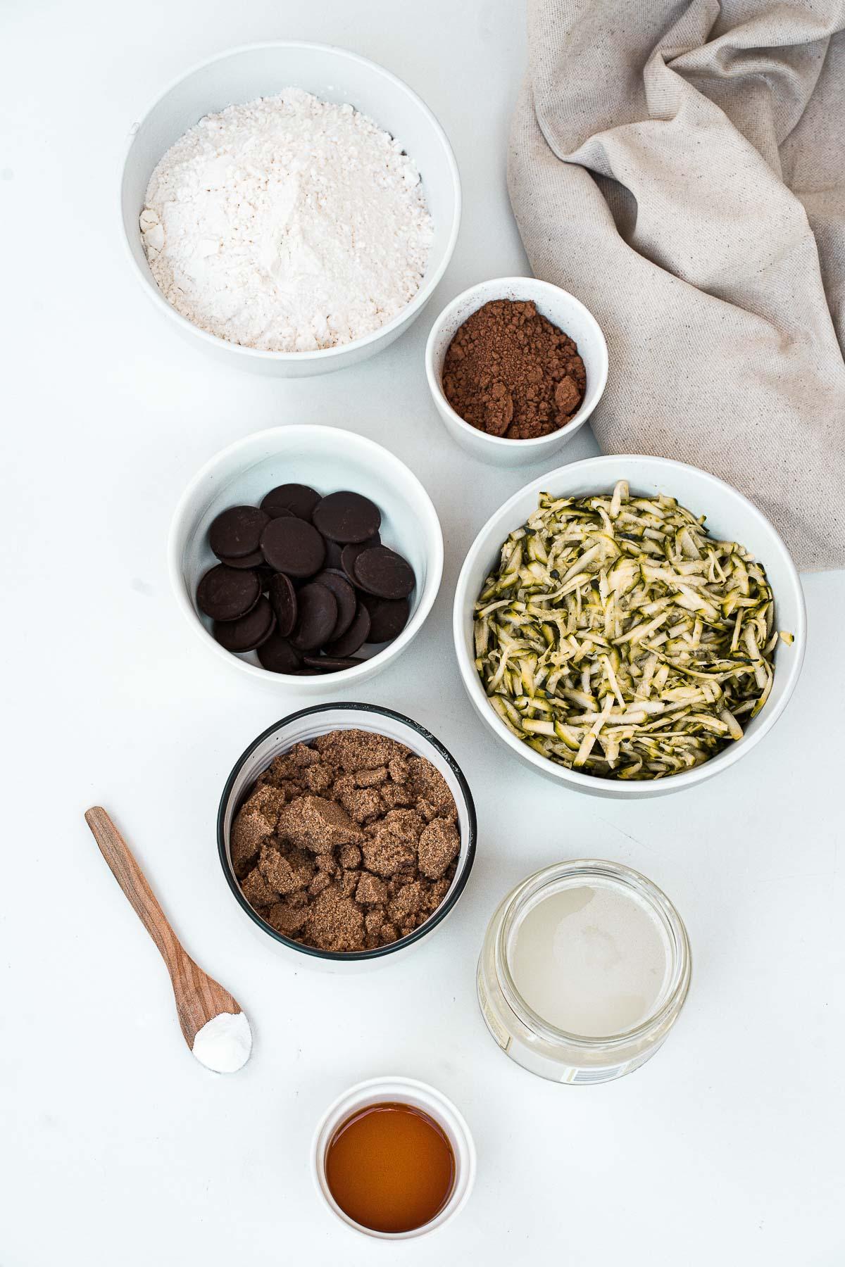 Ingredients to make zucchini brownies.