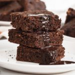 Stack of 3 zucchini brownies.