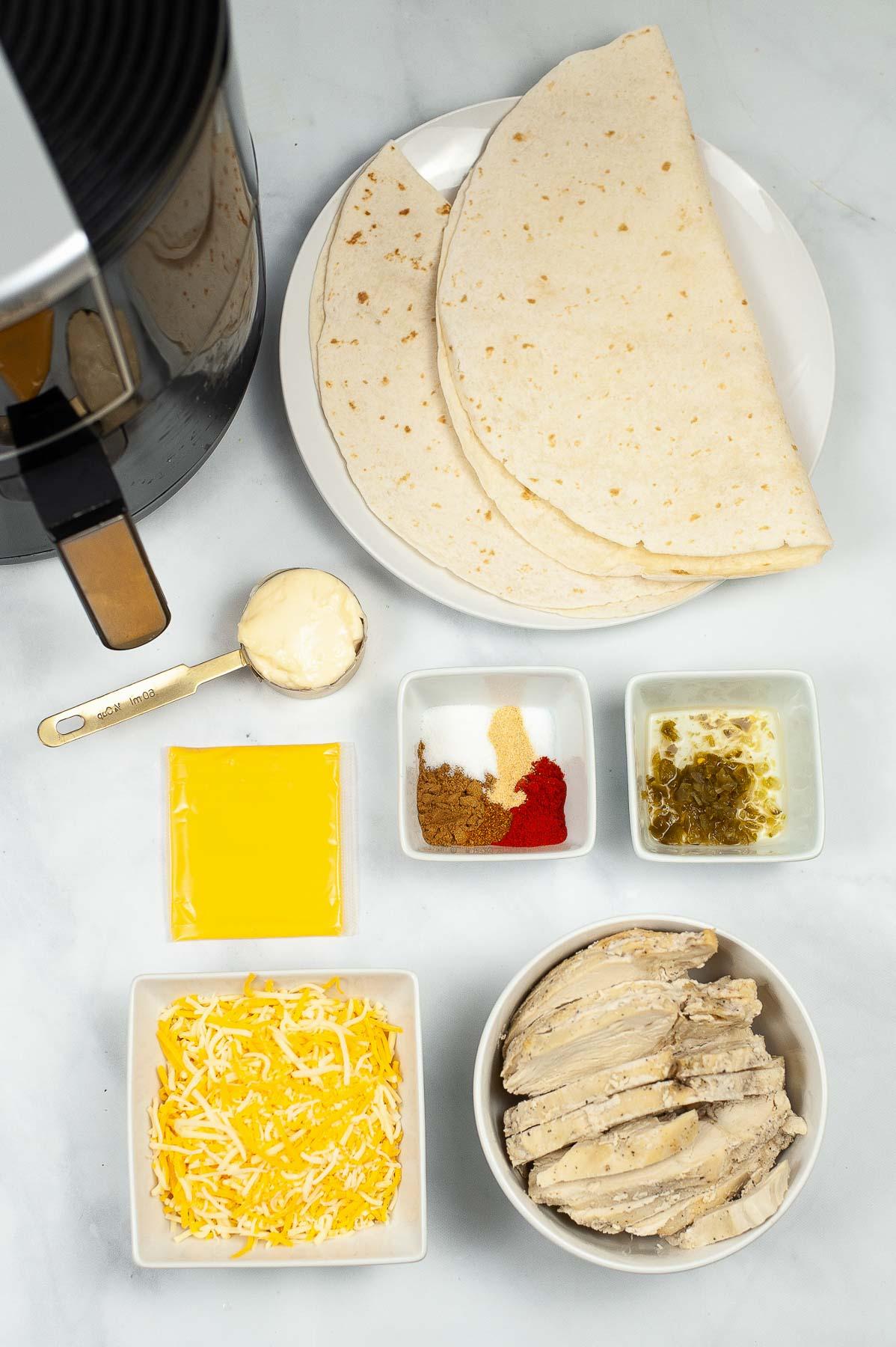 Ingredients for a copycat taco bell quesadilla recipe.