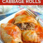 Pinnable image of Russian Stuffed Cabbage golubtsi recipe.