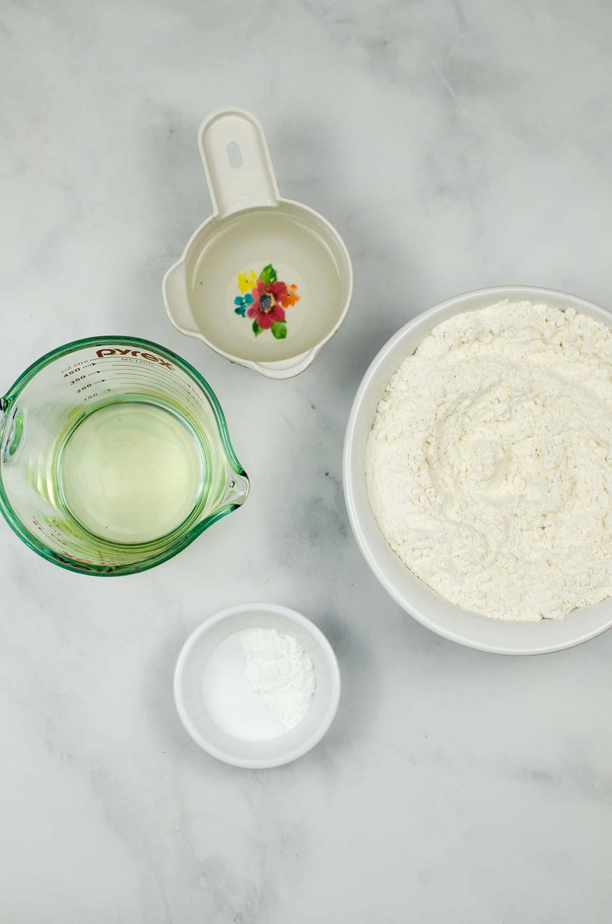 Ingredients to make flour tortillas.