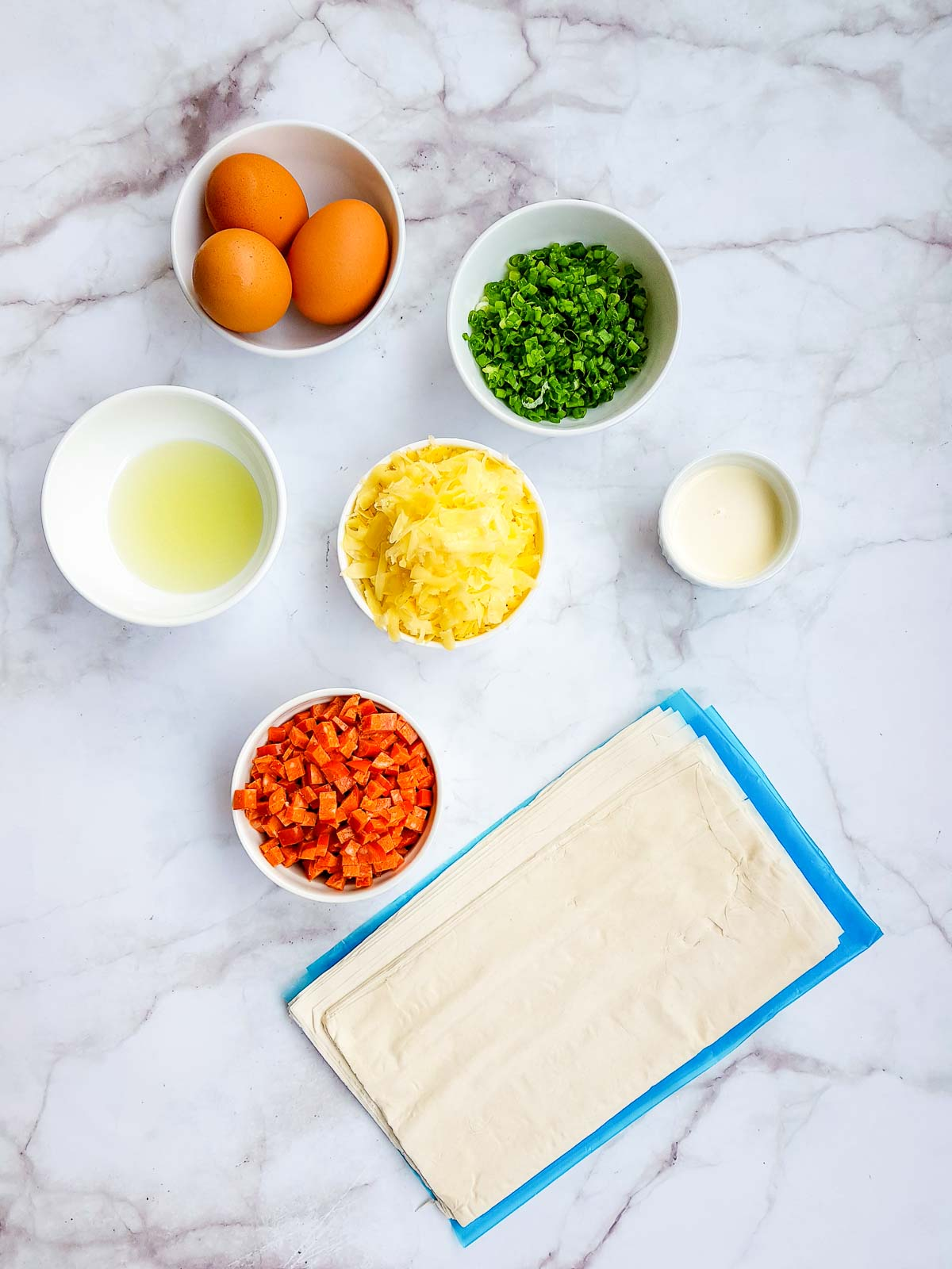 Ingredients to make mini quiches with phyllo dough crust.