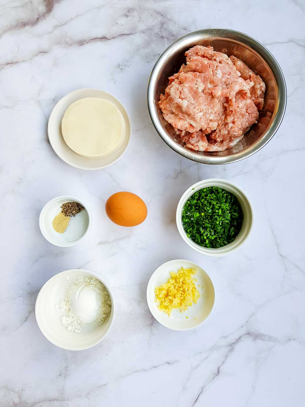 Ingredients for pork and chive dumplings.