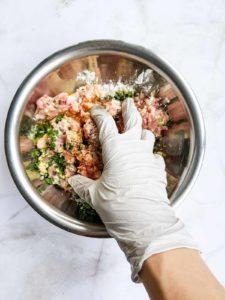 Hand mixing ground pork dumpling filling mixture.