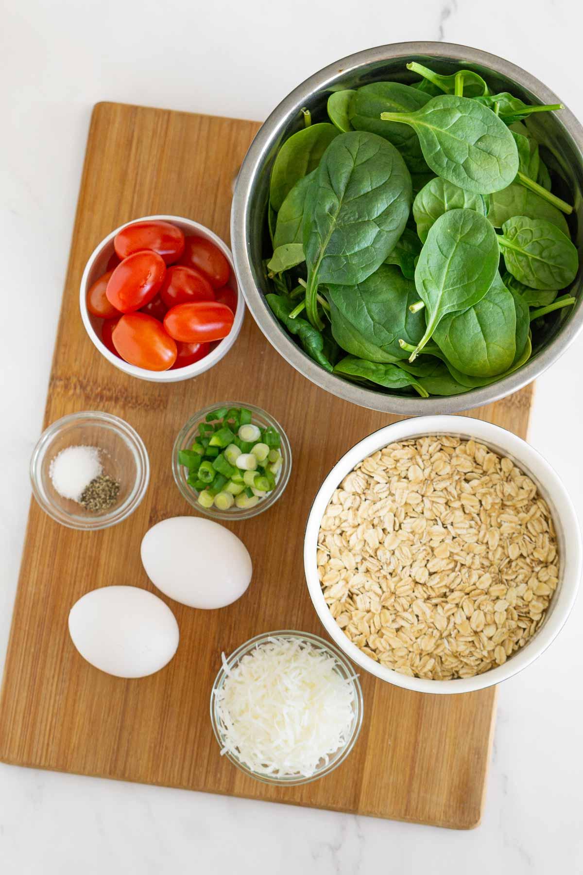 Ingredients to make savory oatmeal.