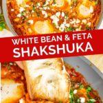 Pinnable image of white bean feta shakshuka.