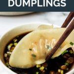 Pinnable image of steamed pork and chive dumplings.