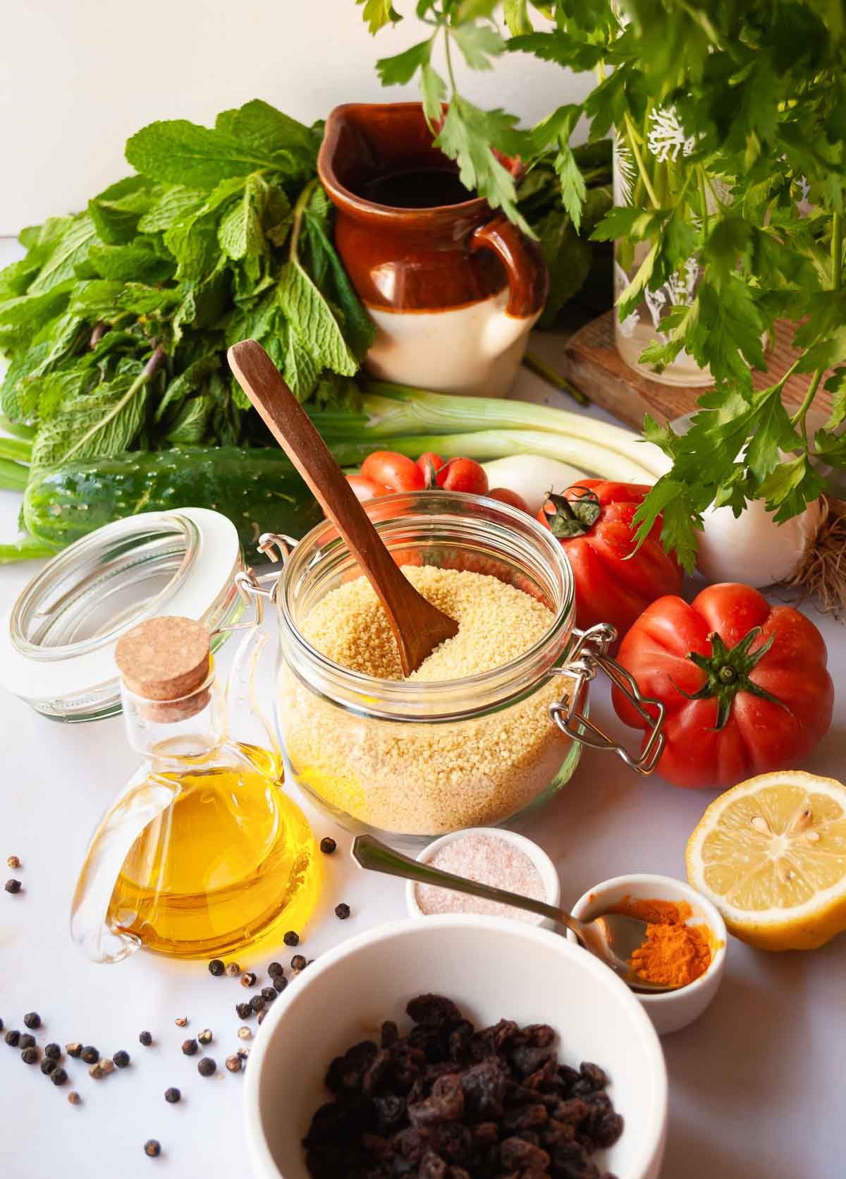 Ingredients to make couscous tabbouleh salad.