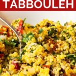 Pinnable image of couscous tabbouli.