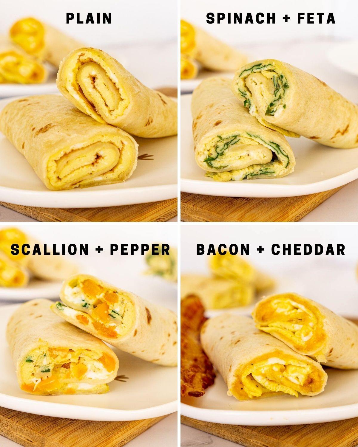 Collage of 4 flavors of tortilla egg breakfast rollups.
