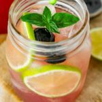 Cherry limeade in a glass.