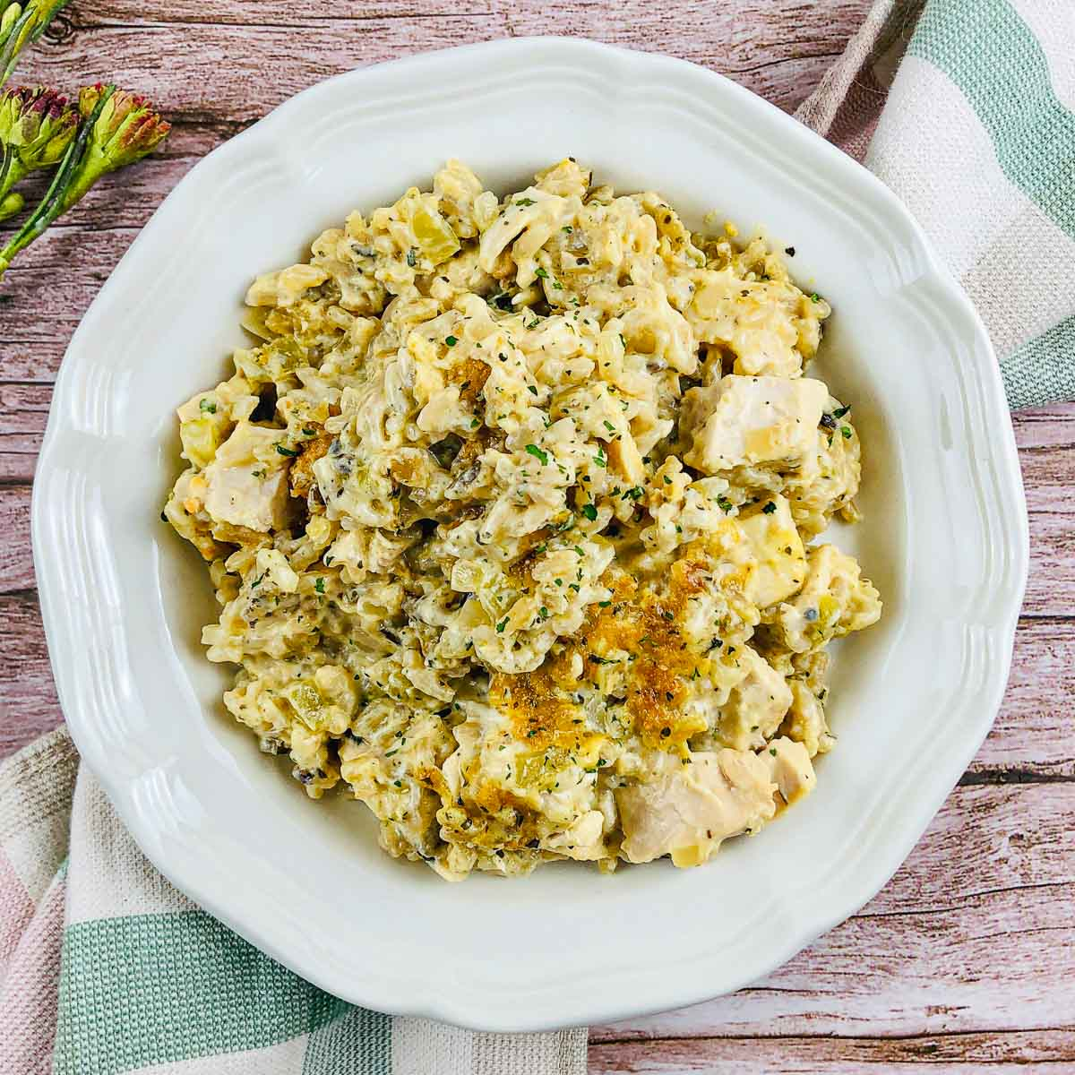 Chicken and wild rice casserole on a plate.