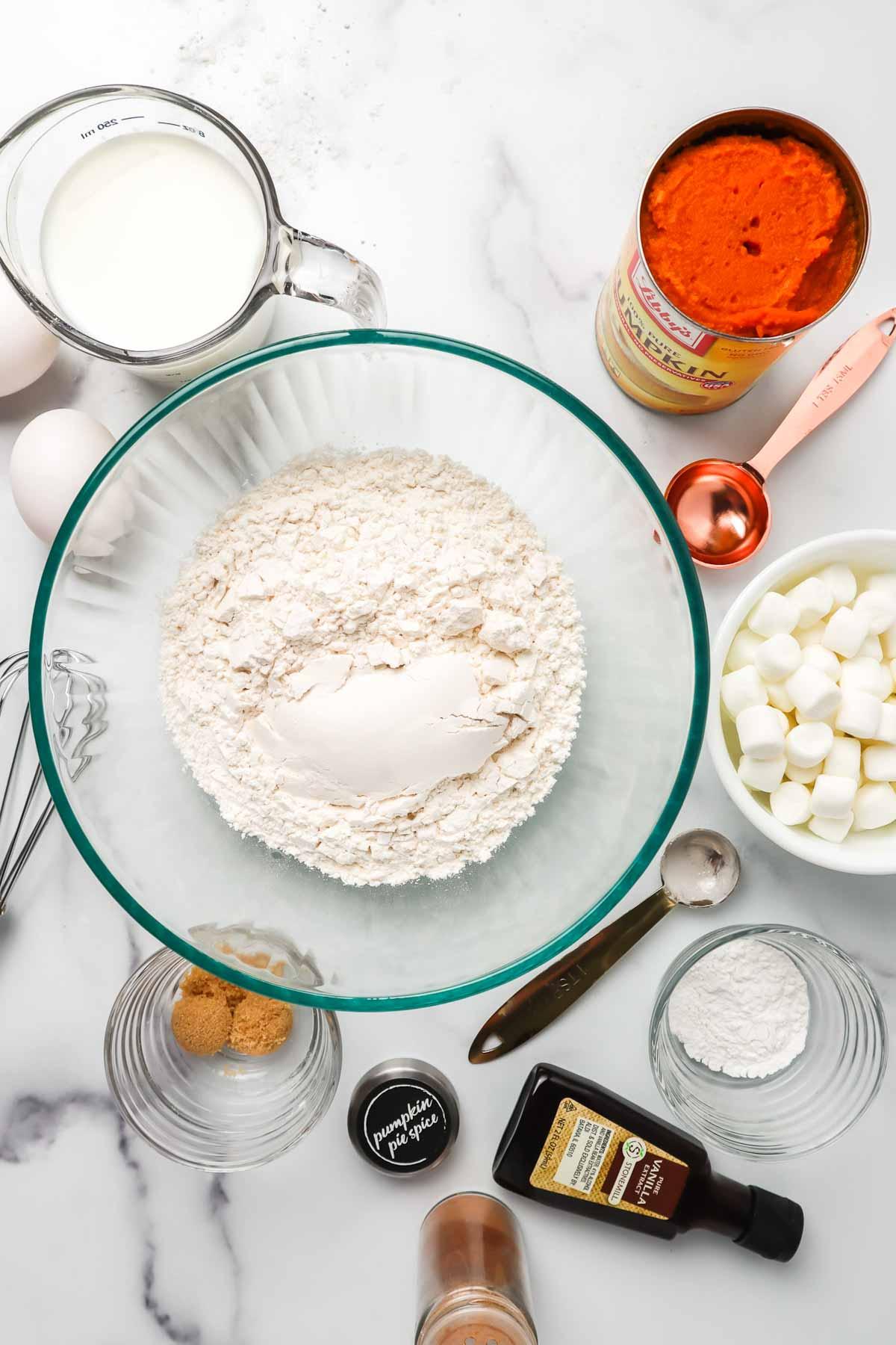Ingredients to make pumpkin waffles.