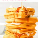 Pinnable image with text: Pumpkin Waffles.