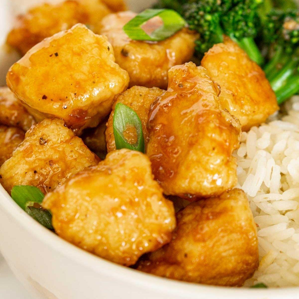 Close up of hot honey chicken bowl.